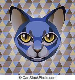 Abstract blue cat on a rhombus background - Abstract poster...