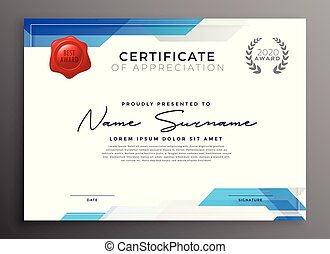 abstract blue certificate of appreciation template