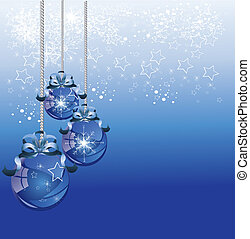Abstract blue Christmas Background with Christmas decorations
