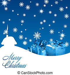 Abstract blue christmas background with gift boxes