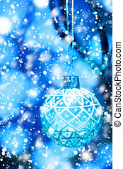 Abstract Blue Christmas Blurred Background