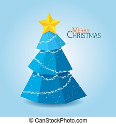 Abstract blue christmas tree background, Trendy design template