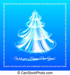 Abstract blue christmas tree background.