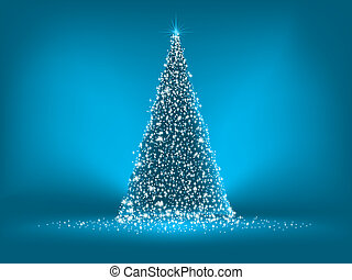 Abstract blue christmas tree on blue. EPS 8