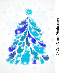 Abstract blue christmas tree. Vector