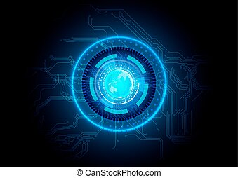 abstract blue circuit technology background.