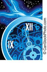 abstract blue clock machine