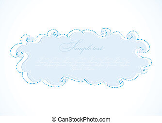 Abstract blue cloud. Vector frame