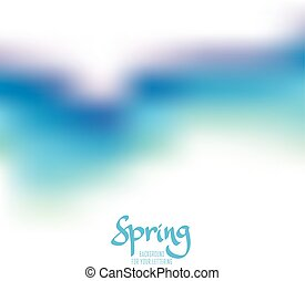 abstract blue color blurred background, watercolor style, spring sky banner template on white for card, poster, header