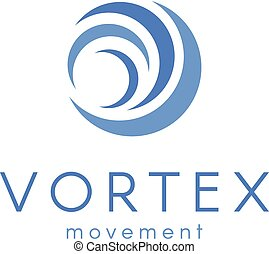 Abstract blue color wave, vortex vector logo, water new technology icon.