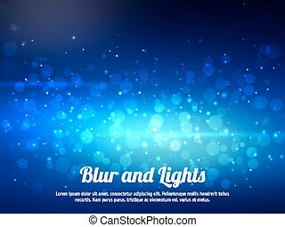 Abstract blue colorful bokeh background. Festive background with defocused lights. Magical background with colorful bokeh.