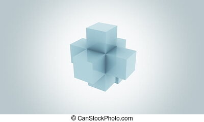 Abstract blue cube assembling endlessly. Increase, addition,...