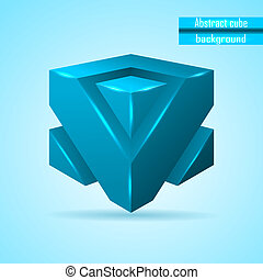 abstract blue cube vector