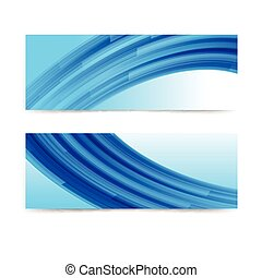 Abstract blue curve banner background