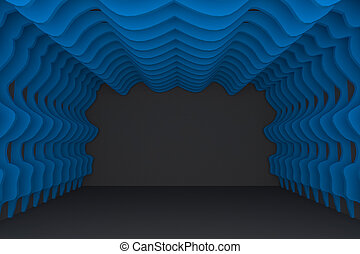 Abstract blue curve wall