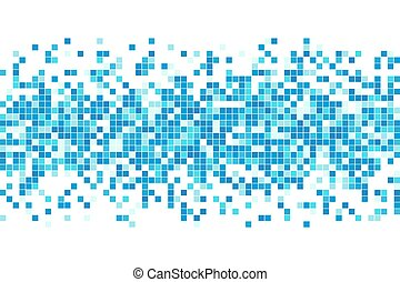 Abstract blue cyan winter mosaic background. Aqua blue colored square tiles. Pixel clean backdrop with copy space. Vector