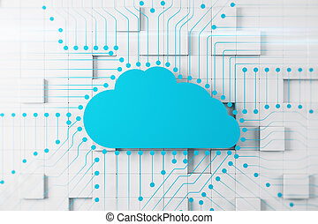 Abstract blue digital circuit cloud