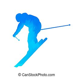Abstract blue downhill skier