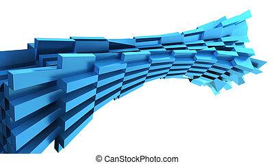 Abstract blue dynamic brick