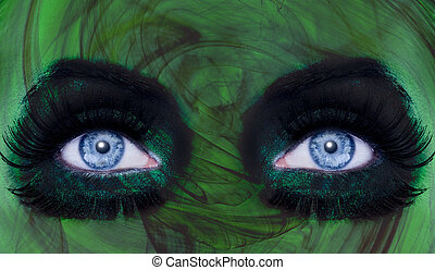 abstract blue eyes makeup woman green texture
