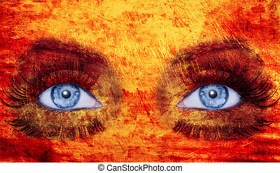 abstract blue eyes makeup woman texture red yellow fire...