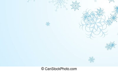 Abstract blue falling snowflakes video animation