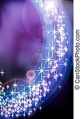 Abstract blue fantasy star background.