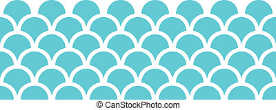 Abstract blue fishscale horizontal seamless pattern background