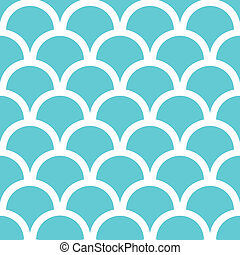 Abstract blue fishscale seamless pattern background