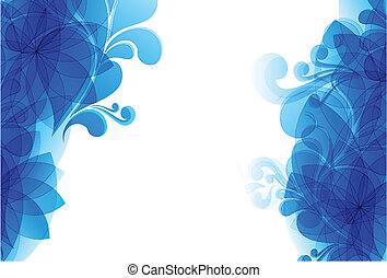abstract blue floral smoke