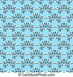 abstract blue flowers on blue background seamless pattern vector illustration