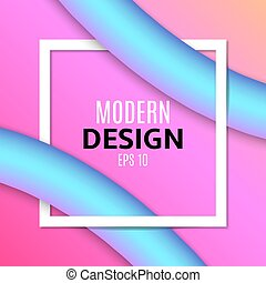 Abstract blue fluid lines in 3d style. White frame banner for text. Purple orange background. Modern design for your project. Vector