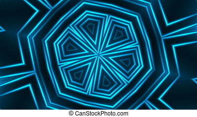 Abstract blue fractal lights, 3d render backdrop, computer...