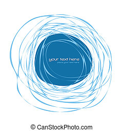 Abstract blue frame - Hand drawn abstract frame with place...