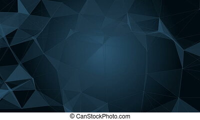 Abstract blue geometric background with moving lines, dots and triangles. Plexus fantasy abstract technology. Stars and space Loop animations.
