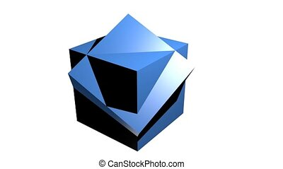 Abstract blue geometric body, 3d body composed from cubes, rotating on white background, useful as intro, advertising