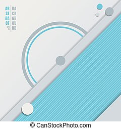Abstract blue geometric circles, triangles overlapping on white background with space for your text.
