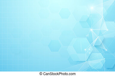 Abstract blue geometric hexagon shape and lines. Science concept background