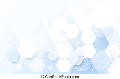 Abstract blue geometric hexagon with science and technology concept background