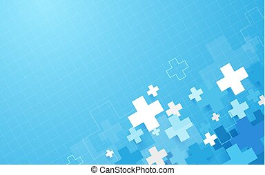 Abstract blue geometric medical cross shape medicine and science concept background