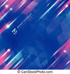 Abstract blue geometric motion with lighting glow technology colorful on lines and triangles pattern background.