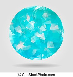 Abstract blue geometric speech bubble with triangular polygons