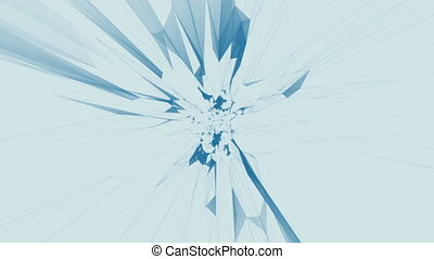 abstract blue geometrical background with moving lines and dots. looping cg animation Seamless loop