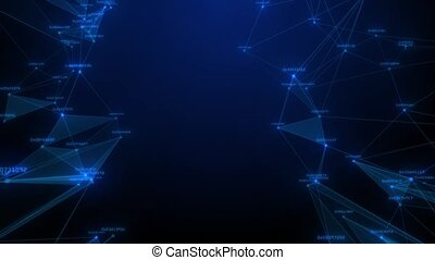 Abstract blue geometrical background with moving lines and...