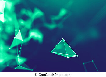 Abstract Blue Geometrical Particles on Purple Background . Connection structure. Science blue background. Futuristic Technology HUD Element . onnecting dots and lines . Big data and Business