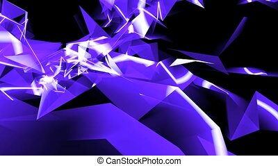 Abstract blue glass fragment curve & laser rays, flowing digital wave background