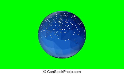 Abstract blue glass sphere with snow flakes, rotating slowly left and right, 3d animation on green screen