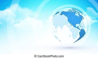 abstract blue globe planet earth transmitting radio waves