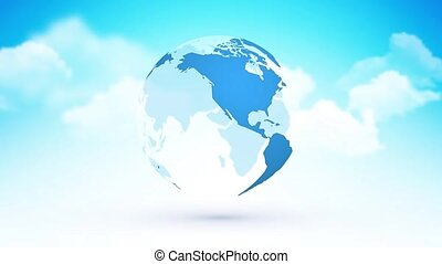 abstract blue globe planet earth with clouds heaven theme