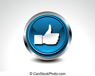 abstract blue glossy like button vector illustration